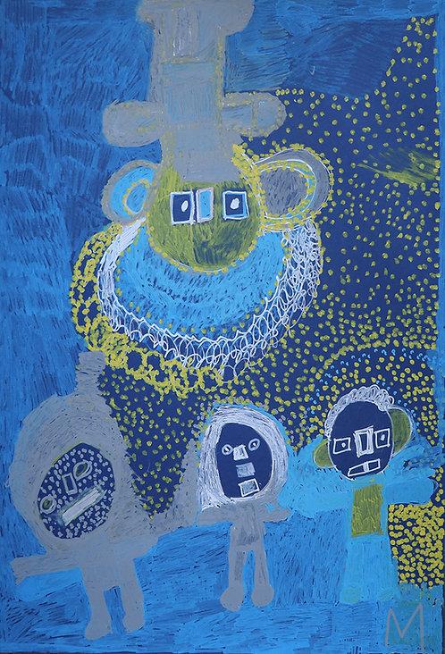 Martine Thielens - grijs en gele figuren op blauw