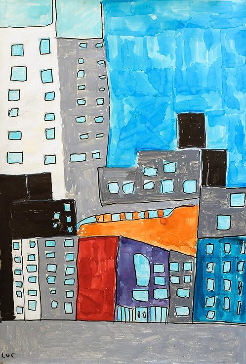 Luc Van Muylder - Flatgebouwen in grijs, wit en blauwe lucht