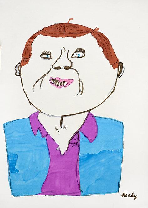 Inge Van Rompaey - man met paars hemd