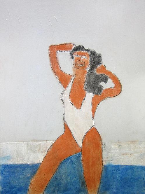 Sven Langhmans - vrouw in wit badpak