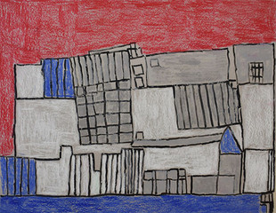 grijs gebouw in rode lucht