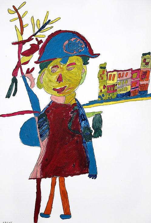 Kathy De Decker - mevrouw met hoed voor huis