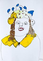 vrouw met hoed en gele kraag