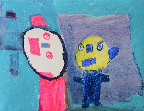 Martine Thielens - twee figuren in fluo op blauw