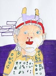 Indiase vrouw voor paarse muur
