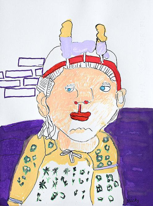 Inge Van Rompaey - Indiase vrouw voor paarse muur