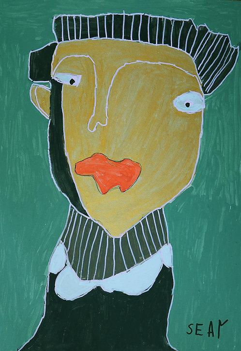 Sylvain Serneels - goud portret op groen