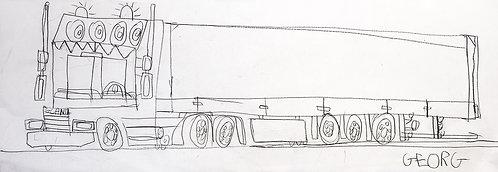 Georg Verstrepen - lijntekening camion scania