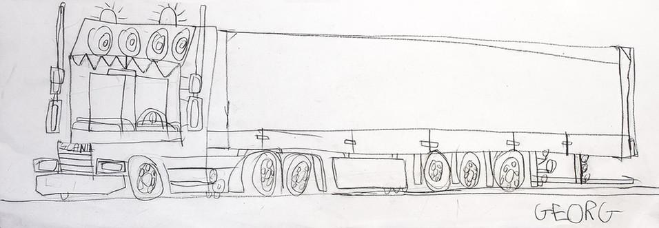lijntekening camion Scania