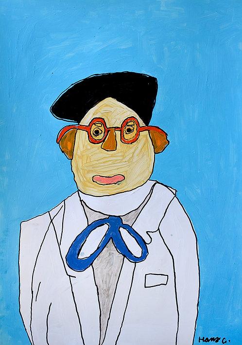 Hans Cortebeeck - portret met bril en strikje