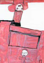 Roze figuren verbonden door een roze achtergrond