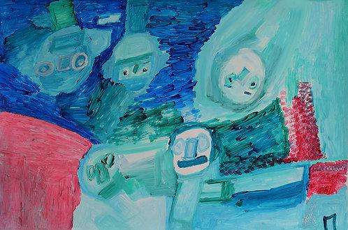 Martine Thielens - figuren op een blauw met roos vlak