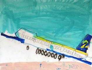 opstijgend vliegtuig met appelblauwzeegroene lucht