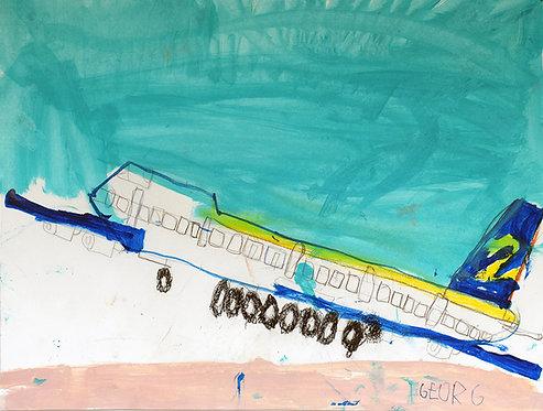 Georg Verstrepen - opstijgend vliegtuig met appelblauwzeegroene lucht