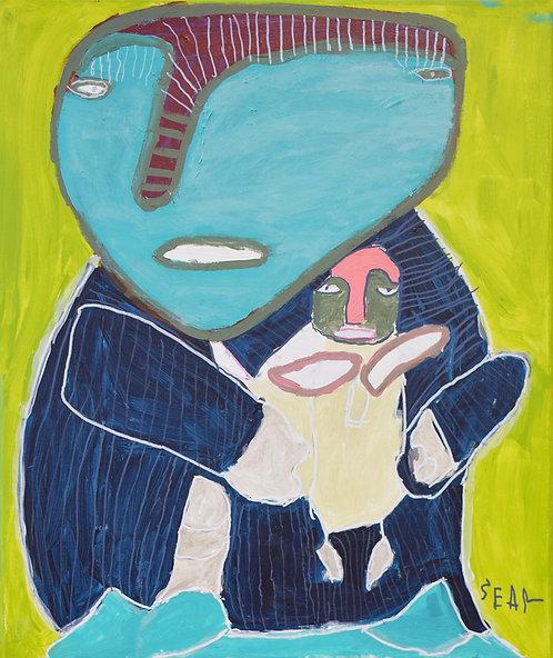 Sylvain Serneels - moeder en kind op groen