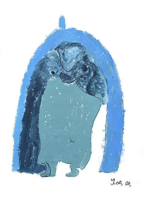 François Oste - Blauwe figuur met sjaal