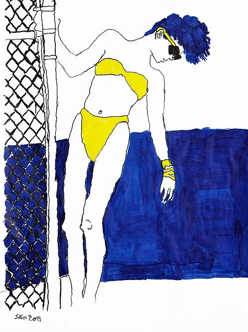 Sven Langhmans - vrouw in gele bikini
