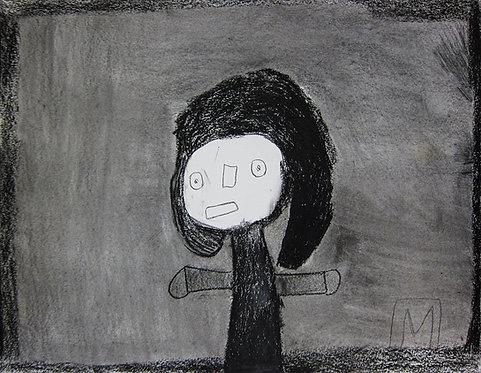 Martine Thielens - figuur op grijze achtergrond