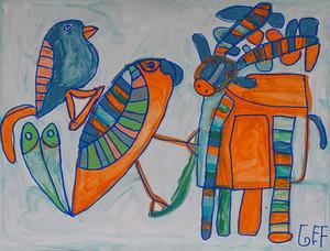 rendier met twee vogels