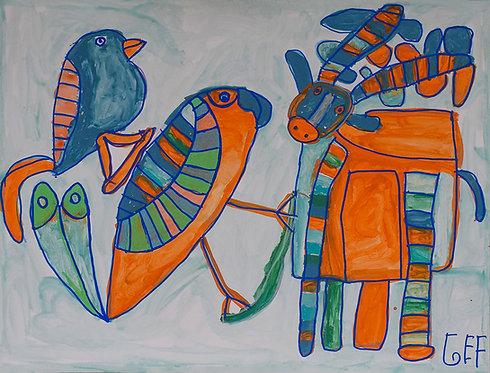 Jef Cloostermans - rendier met twee vogels