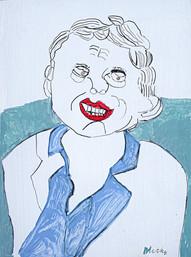 uitgedoste man met rode lippen
