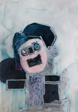 figuur op lichtblauwe achtergrond