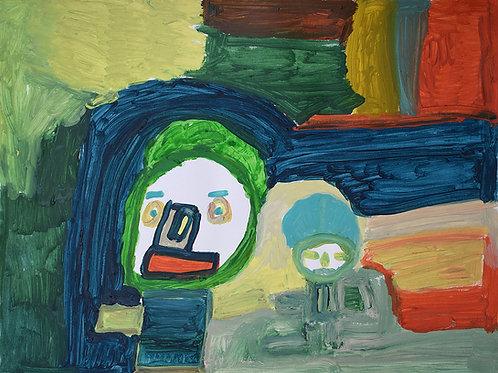Martine Thielens - twee figuren op vlakken in herfsttinten