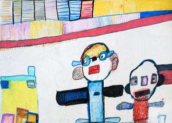 twee figuren met huisje en gekleurde vlakken