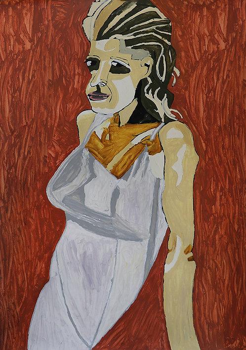 Carlo Buyck - vrouw in wit slaapkleed