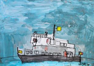 Belgische grijze boot in storm