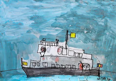 Georg Verstrepen -  Belgische grijze boot in storm