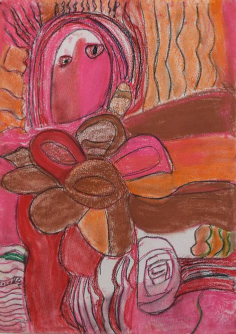 Rozette Goovaerts - Roze vrouw met bloemen