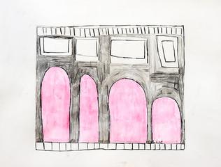 huis met roze bogen