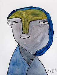 vrouw met blauwe hoofdsjaal