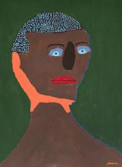 man met blauw haar op groene achtergrond