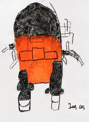 oranje met zwarte robot
