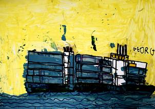 containerschip op woeste zee