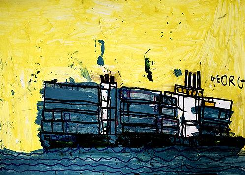 Georg Verstrepen - containerschip op woeste zee