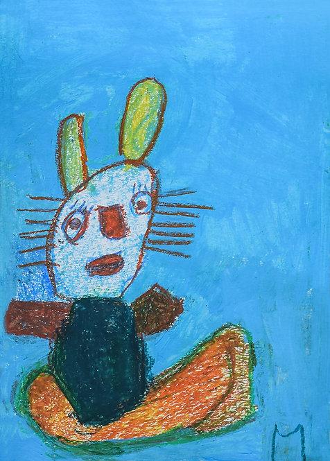 Martine Thielens - poes op blauw
