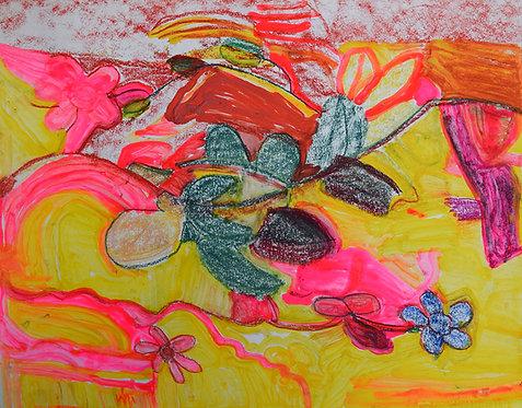 Rozette Goovaerts - bloemen op roos en geel