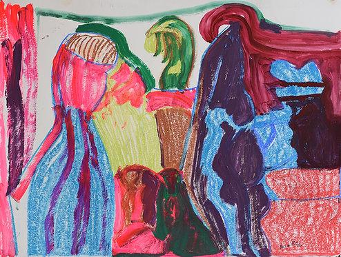 Rozette Goovaerts - Figuren in fluoroze en blauw