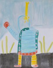 blauw mannetje met gele broek