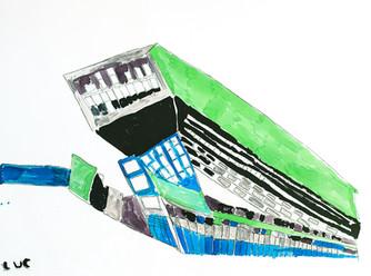 Grondplan groen, grijs en blauw