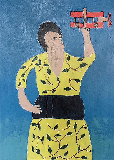 Yvonne Backs - vrouw met gele jurk en rood vliegtuig
