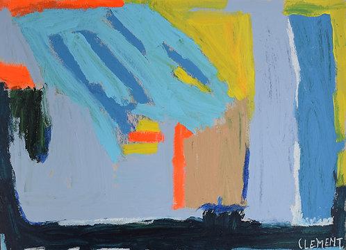 Clement Cretoir - blauw met fluo gebouwen