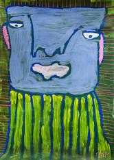 lichtblauw portret met geel en blauw gestreepte trui