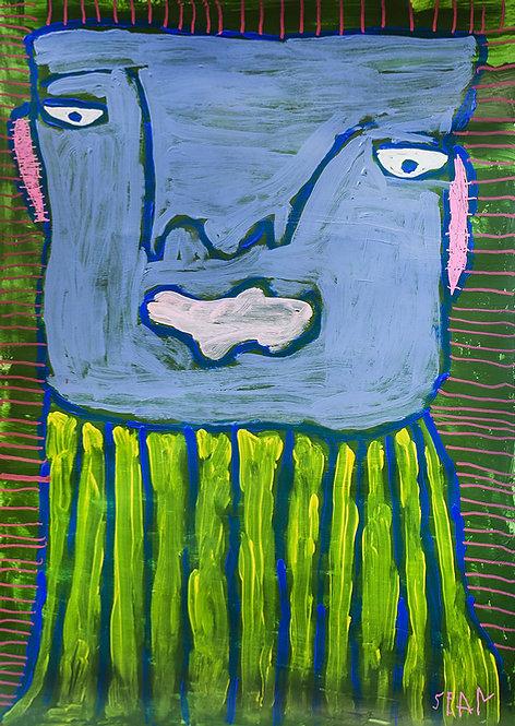 Sylvain Serneels - lichtblauw portret met gestreepte trui