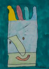kleurrijk handschoenportret