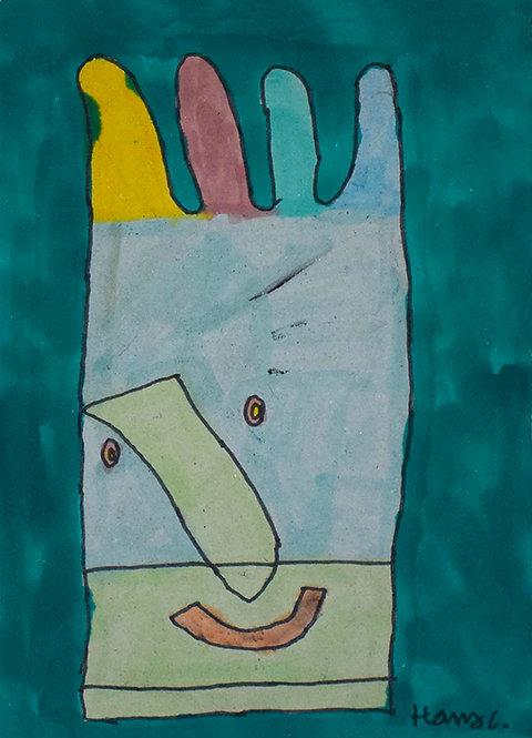 Hans Cortebeeck - kleurrijk handschoenportret