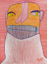 kleurrijk figuur op gestreepte roze achtergrond